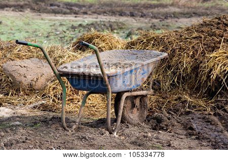 Wheelbarrow With Cattle Manure