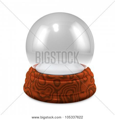 Empty Christmass glass snowglobe with wooden base isolated on white background.