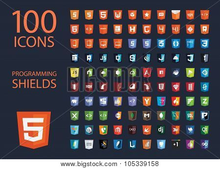 vector collection of web development shield signs, one hundred isolated icons html5 style programmin
