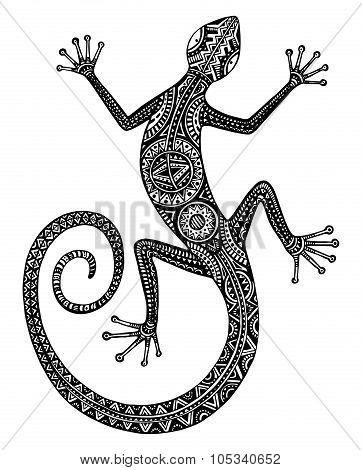 Vector Hand Drawn Lizard Or Salamander With Ethnic Tribal Patterns