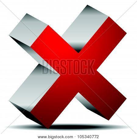 Red Cross Graphics. Remove, Delete Button, Icon. Editable Vector