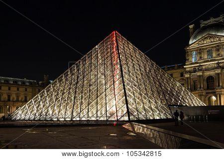 The  Louvre Pyramid At Night, Paris, France.