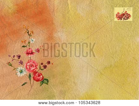 Bright watercolor background texture with sheet music, Victorian roses and a place for text