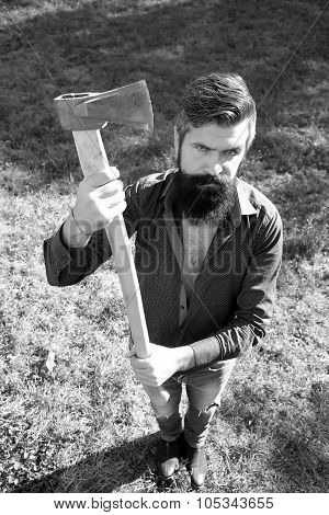 Top View Of Man With Axe