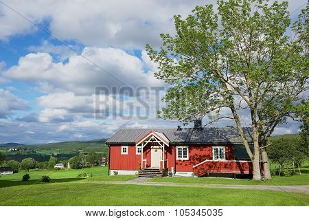 View to the traditional Norwegian house in Roli, Norway.
