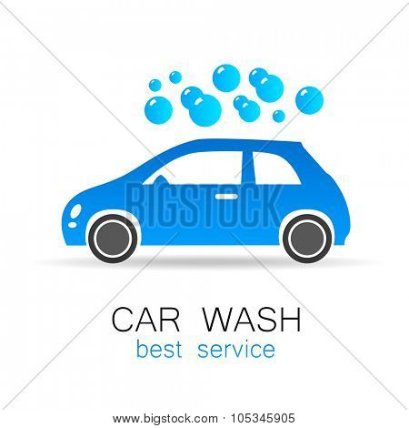 Car wash - vector sign. Template design for logos, icons, stickers carwash.