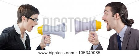 Man shouting and yelling with loudspeaker poster
