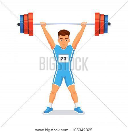 Strong bodybuilder sportsman. Weightlifting sport