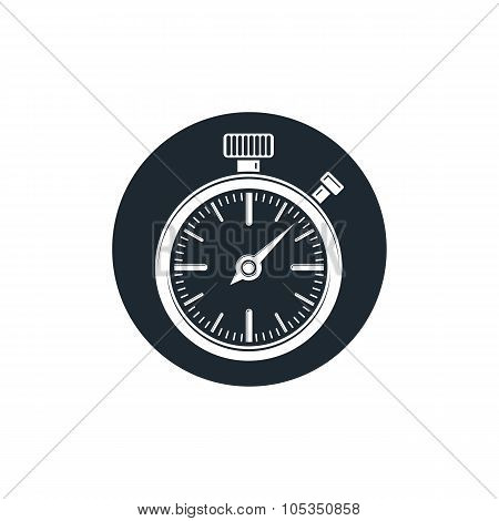 Old-fashioned pocket watch vector graphic illustration. Simple timer classic stopwatch. Time management symbolic icon. poster