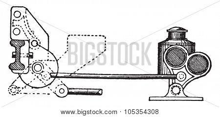 Stop cleat indicator, vintage engraved illustration. Industrial encyclopedia E.-O. Lami - 1875.