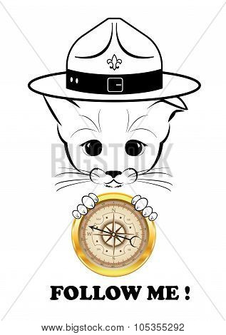 Boso with golden compass. Follow me.