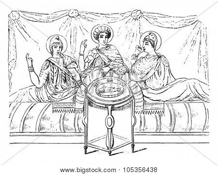 Meals in the third century after the Virgil of the Vatican, vintage engraved illustration. Magasin Pittoresque 1867.