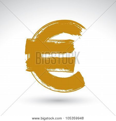 Hand-painted Yellow Euro Icon Isolated On White Background, European Currency Symbol Created With Re