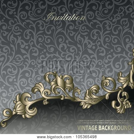 Vintage background with floral border element