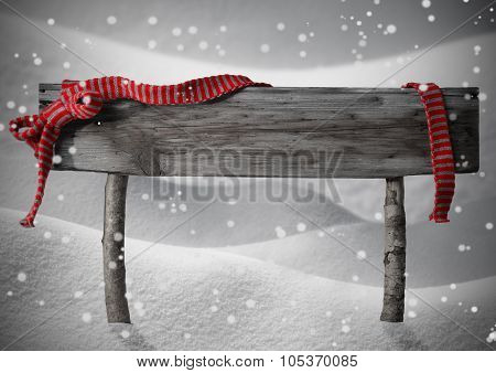 Gray Christmas Sign Copy Snow, Red Ribbon, Snowflakes