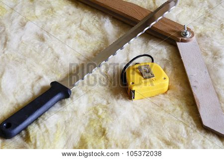 Mineral Wool Thermal Insulation With Meter, Knife And Protractor