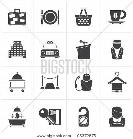 Black Hotel and motel services icons