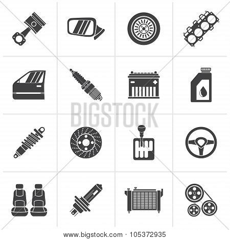 Black Detailed car parts icons