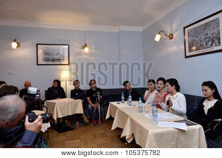 ST. PETERSBURG, RUSSIA - OCTOBER 6, 2015: Soloists of Star Sopranos of China on the press conference in Philharmonic Hall. The event is part of the Festival of Chinese music