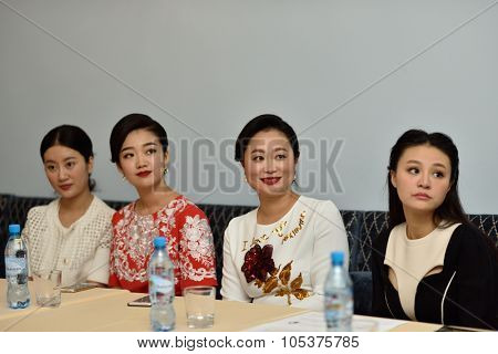 ST. PETERSBURG, RUSSIA - OCTOBER 6, 2015: Liu Chan (center) and soloists of Star Sopranos of China on the press conference in Philharmonic Hall. The event is part of the Festival of Chinese music