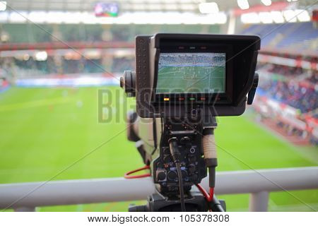 RUSSIA, MOSCOW- NOV 02, 2014: Video reportage at stadium Locomotive during game between Dinamo and Locomotive.