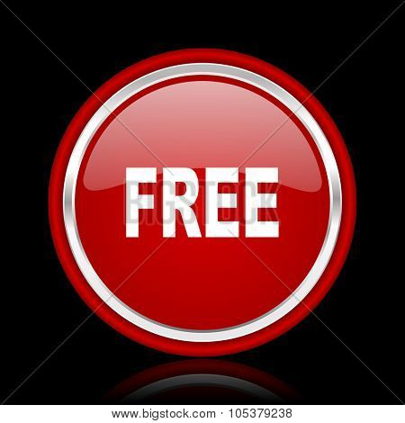 free red glossy cirle web icon on black bacground