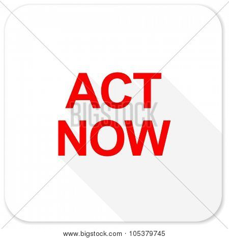 act now red flat icon with long shadow on white background