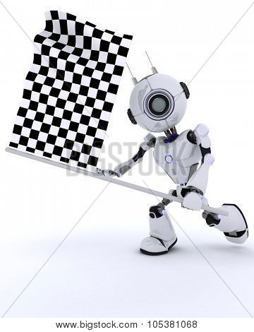 3D Render of a Robot with chequered fag