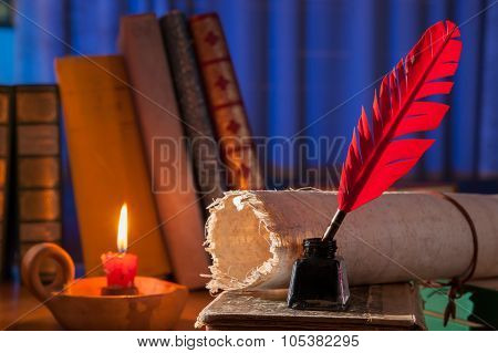Red quill pen black inkwell and a rolled papyrus leaf enlightened by a candle on a blue background poster
