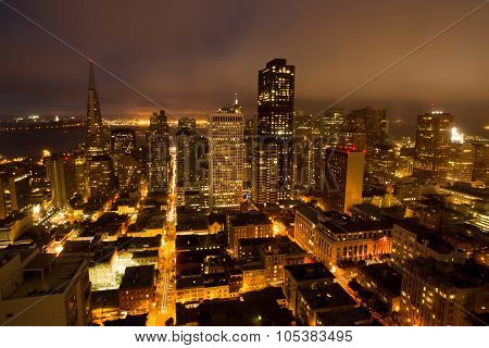 Aerial Views of San Francisco Financial District from Nob Hill, Night