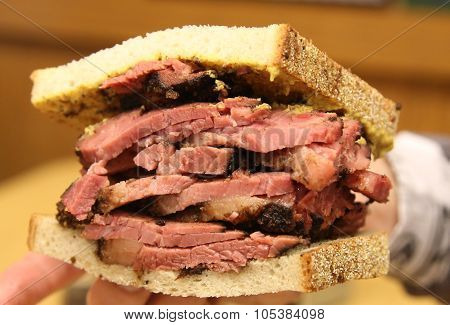Famous Pastrami on rye sandwich served in New York Deli
