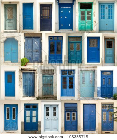 Collage of differents textured and blue doors in Greece