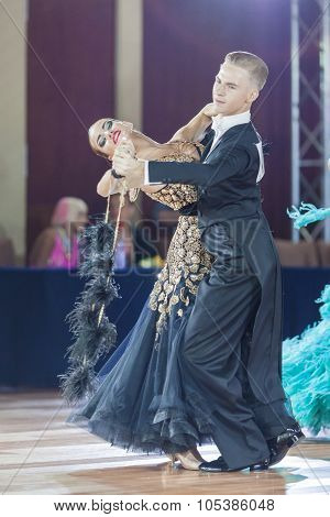Minsk, Belarus-september 26, 2015: Uglanov Alexey And Trigubko Alena Perform Juniors-2 Standard Prog