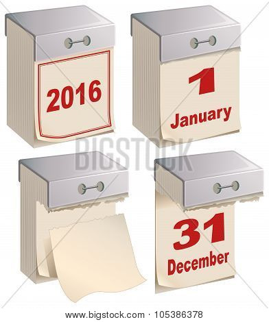 Set Tear-off calendar template. Isolated on white vector illustration poster