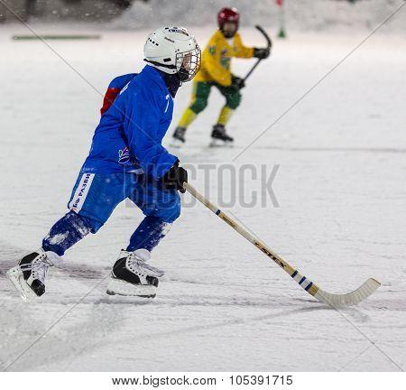 RUSSIA, ARKHANGELSK - DECEMBER 14, 2014: 1-st stage children's hockey League bandy, Russia