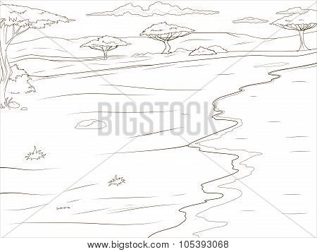 Coloring book  African savannah background
