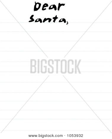 a dear santa letter generated in psp. has line like school paper and done in child's writing text poster