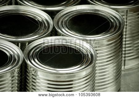 Close up of tin cans for food