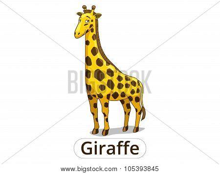 Giraffe african savannah animal cartoon vector illustration for children poster