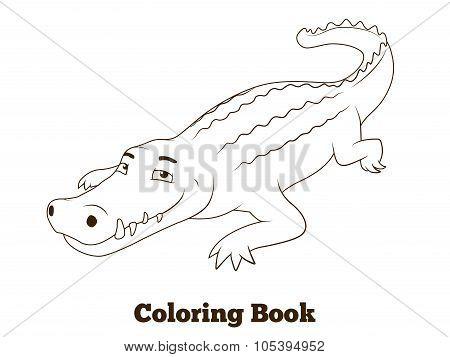 Coloring book crocodile african savannah animal cartoon vector illustration for children poster