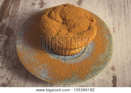 Vintage Photo, Fresh Muffins With Powdery Cinnamon On Wooden Background, Delicious Dessert