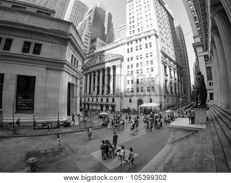 NEW YORK,USA - AUGUST 15,2015 : Wall Street and the New York Stock Exchange in Manhattan