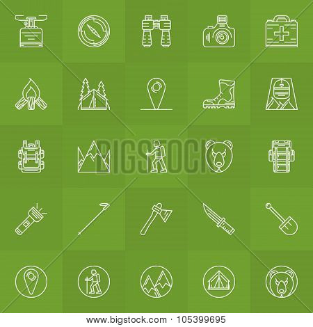 Hiking and camping icons set