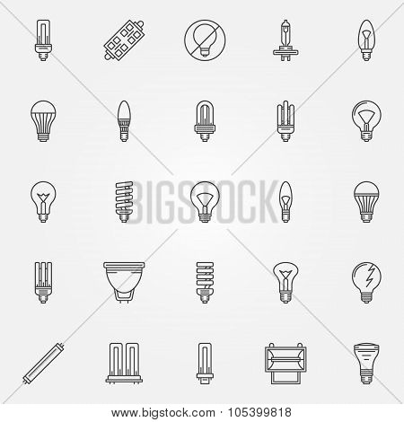 Light bulbs icons set