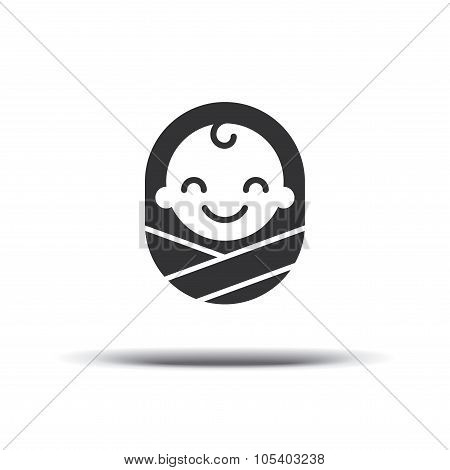 Logo Design Baby, Cheerful Joyful Kid. Logo Design Template. Design Icon Vector. Isolated On A White