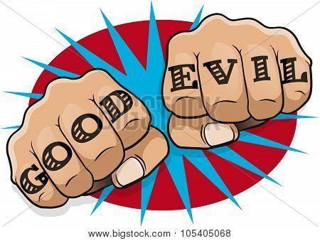 Pop Art Good Evil Tattoo Fists.
