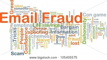 Background concept wordcloud illustration of email fraud poster