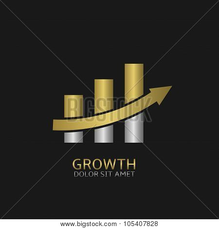 Growth business icon with golden and silver elements. Increase growth profit success positive superprofit symbol poster