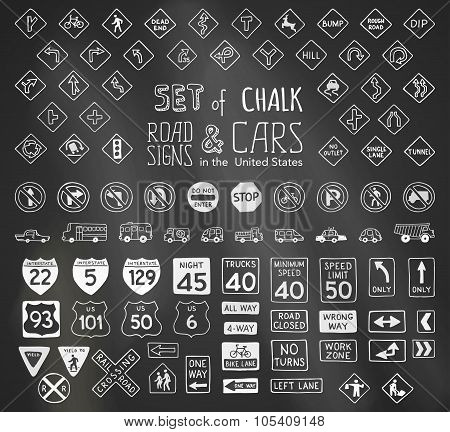 Vector Set Of Chalk Road Signs In The United States And Vehicles.
