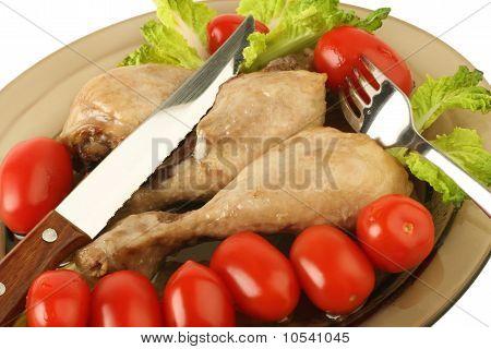 Dinner. Chicken Legs And Vegetables